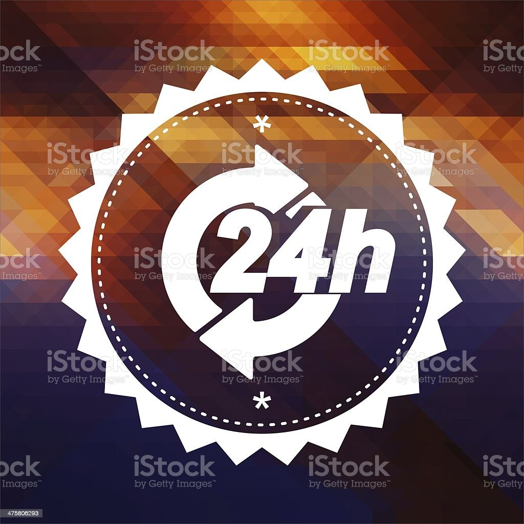 Service 24h Concept on Retro Triangle Background. stock photo
