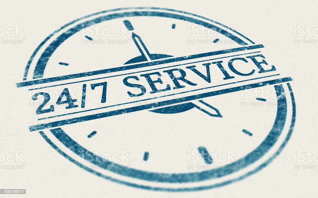 Service always open, 24 hours and 7 days a week stock photo