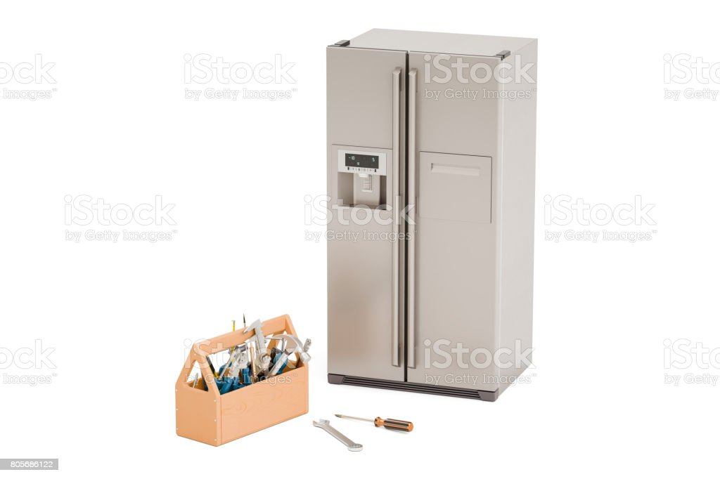 Service and repair of fridge concept. 3D rendering isolated on white background stock photo
