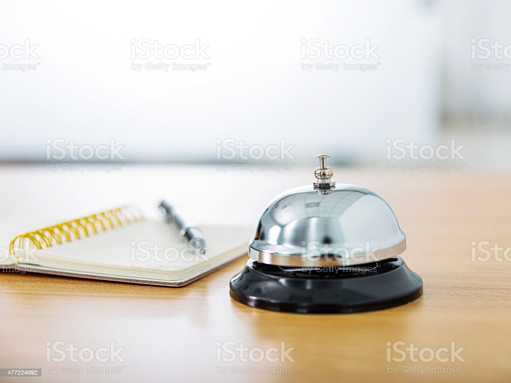 Service bell and pen stock photo