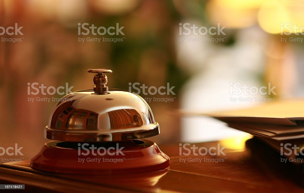 Service Bell in the hotel reception stock photo