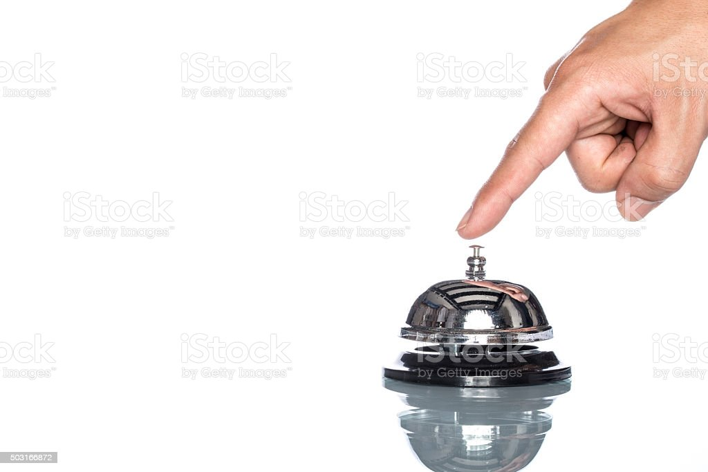 Service bell with human hand on white background,  customer dema stock photo