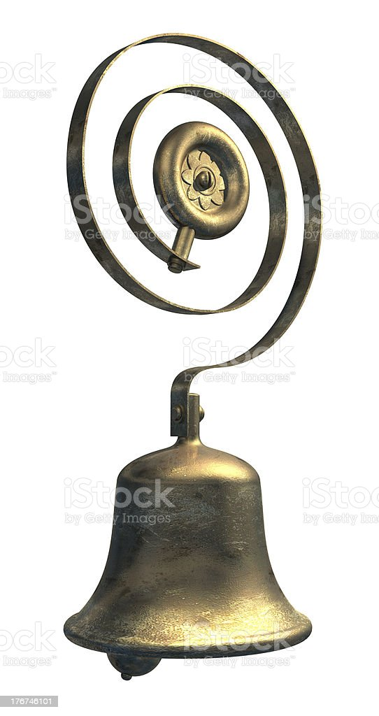 service/ door bell in brass or bronze stock photo
