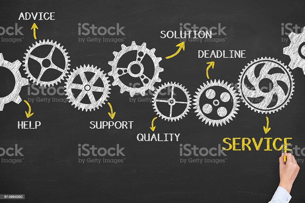 Service Gears Concept on Blackboard Background stock photo