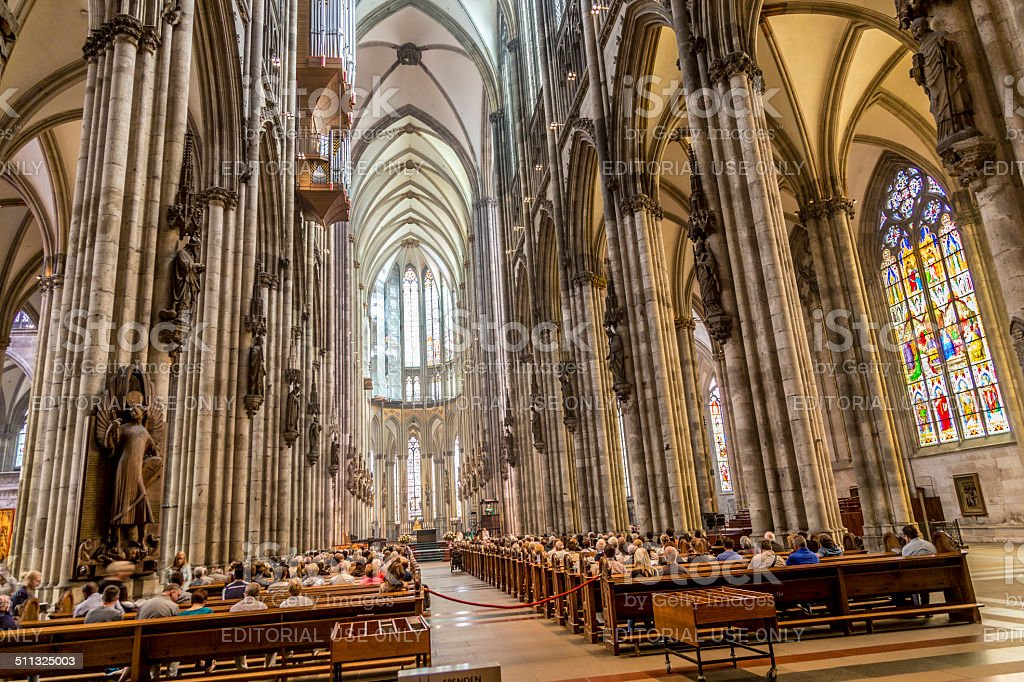 service held in Central nave of Cologne Cathedral stock photo