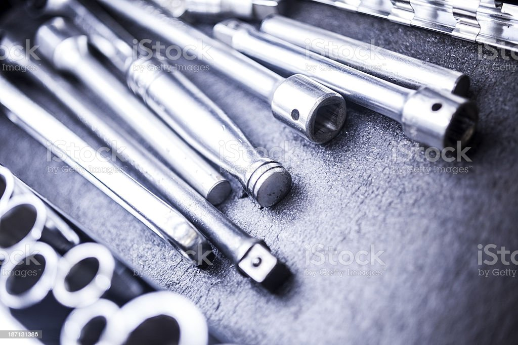 Service Industry: Ratchets and sockets in mechanic's toolbox. stock photo