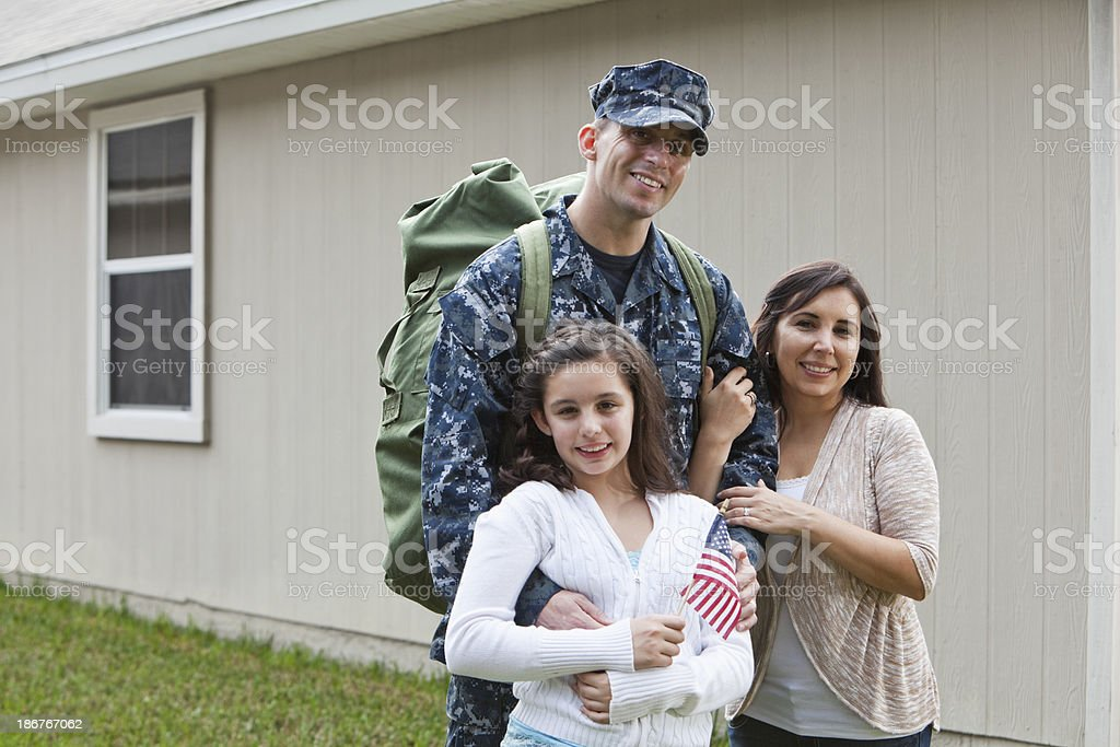 US service man with family royalty-free stock photo