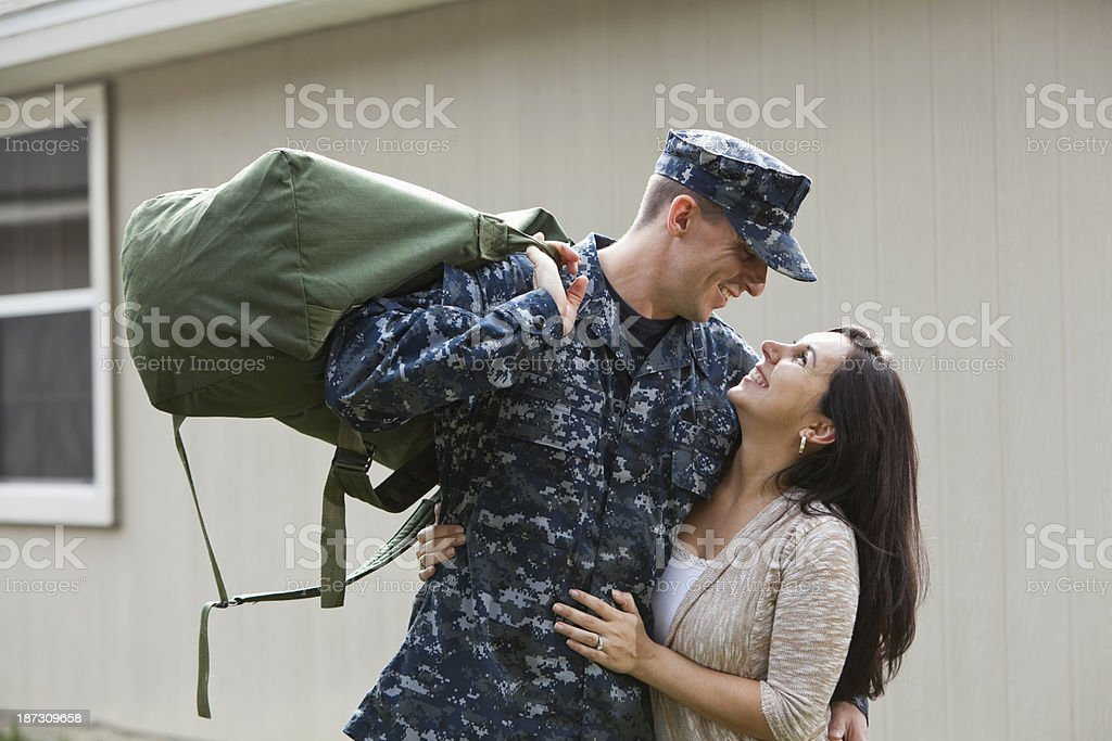 US service man with wife stock photo