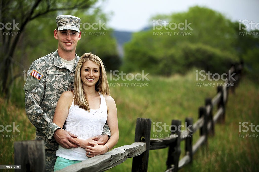 US Service Member With Young Wife royalty-free stock photo