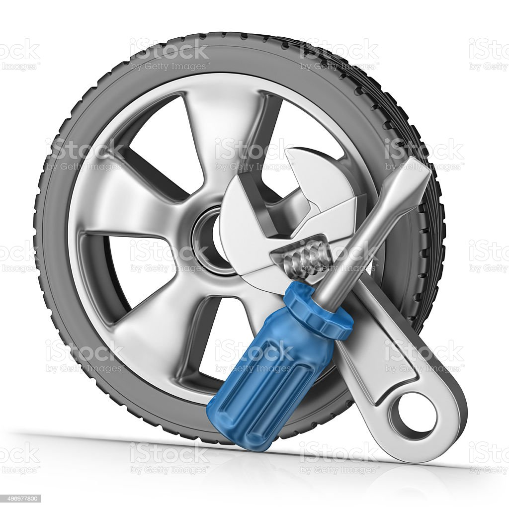 Service - Repair of Wheels stock photo