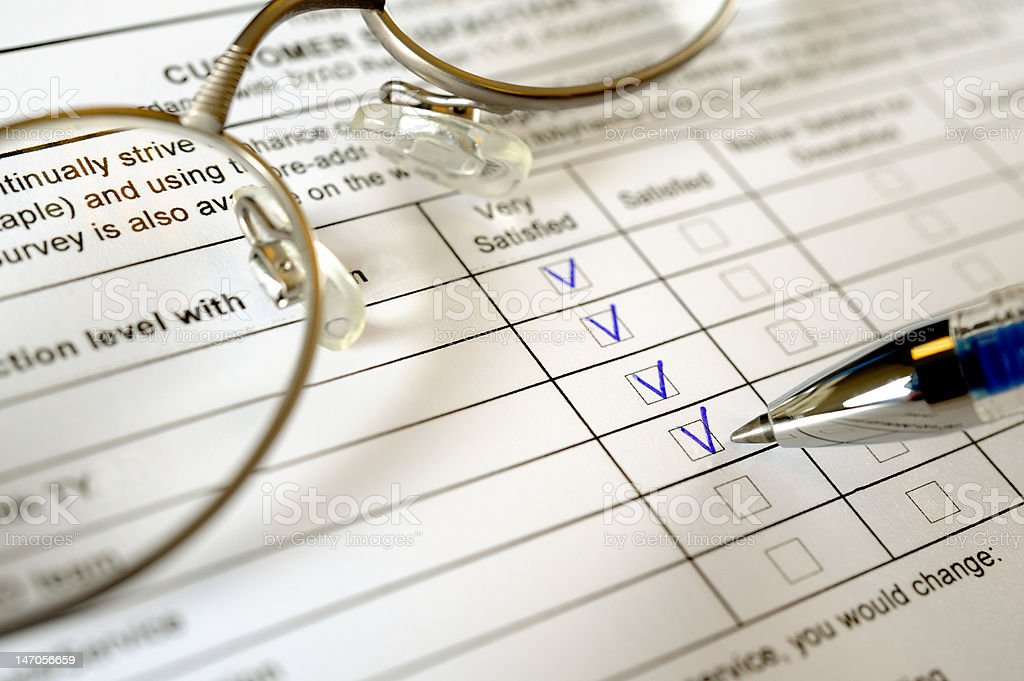 Service survey completion form royalty-free stock photo