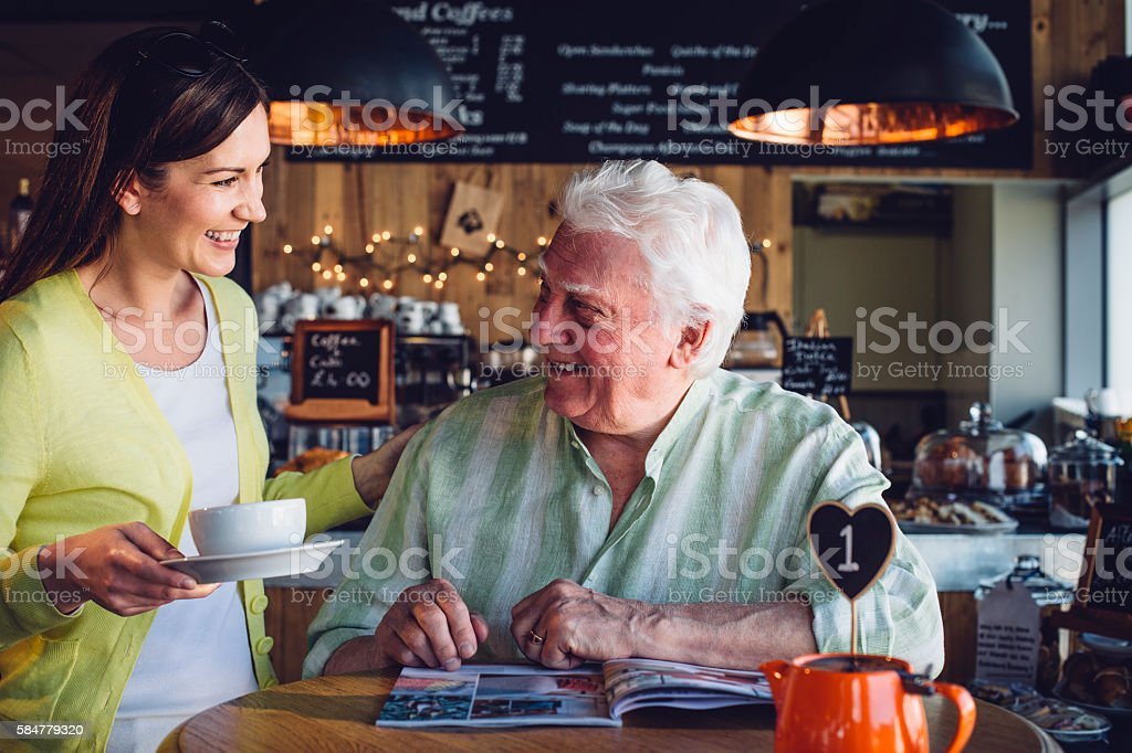 Service with a smile. stock photo