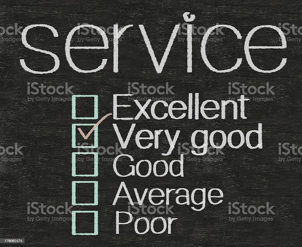 service with rate written on blackboard blackground royalty-free stock photo