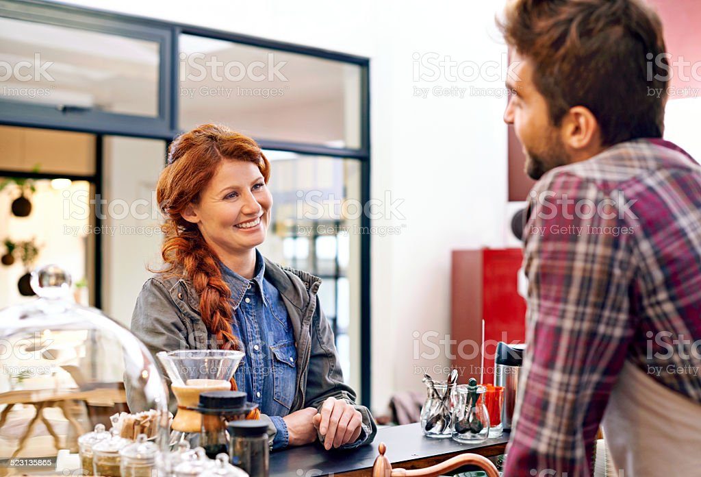 Service with sincere smile! stock photo