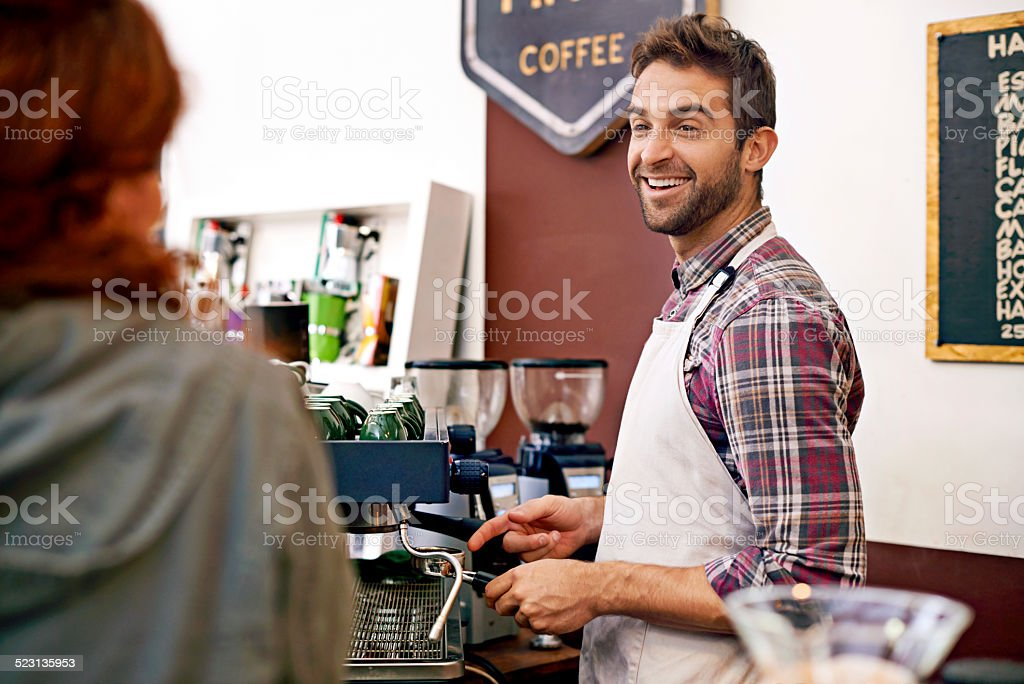 Service with smile! stock photo