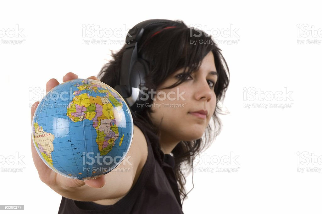 service worker and globe stock photo