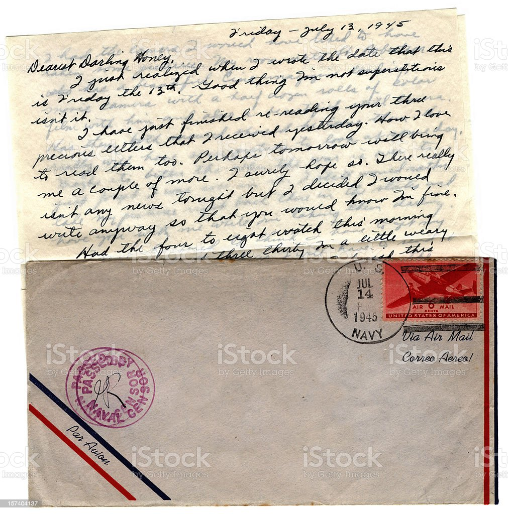 US serviceman's letter 1945 royalty-free stock photo