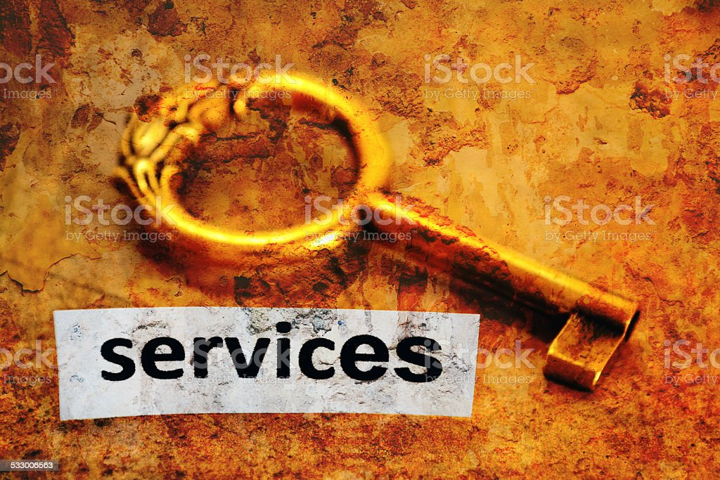 Services and key concept stock photo