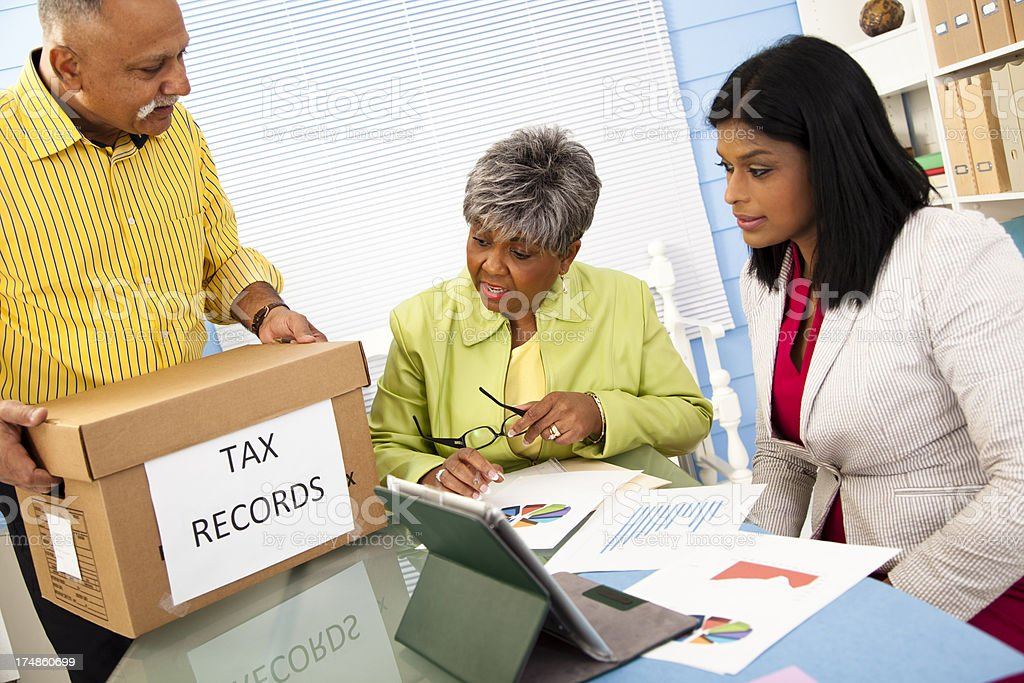 Services:  Box of tax records brought into office for accountants royalty-free stock photo