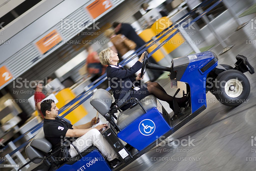 FRACARE Services electric vehicle at Frankfurt Airport stock photo