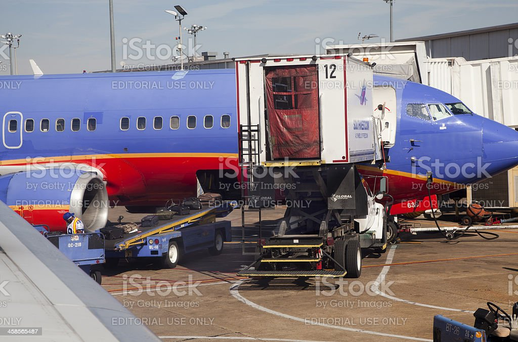 Servicing a Southwest Airlines royalty-free stock photo