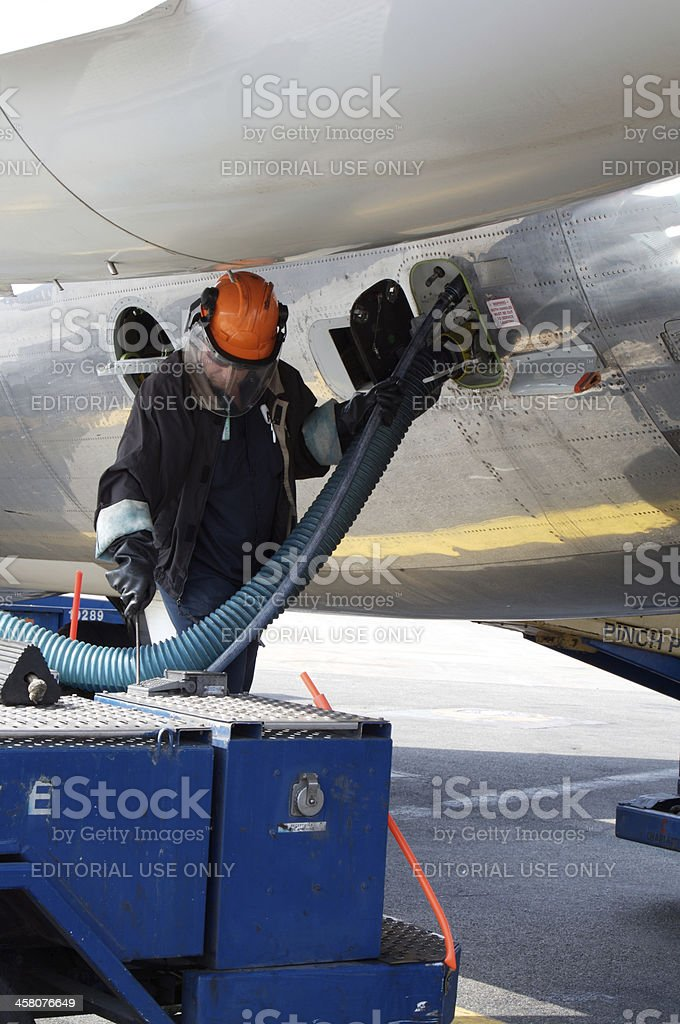 Servicing the lavs stock photo