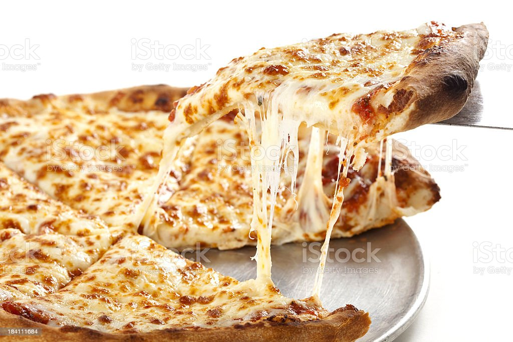 Serving a Fresh Slice of hot Pizza. stock photo