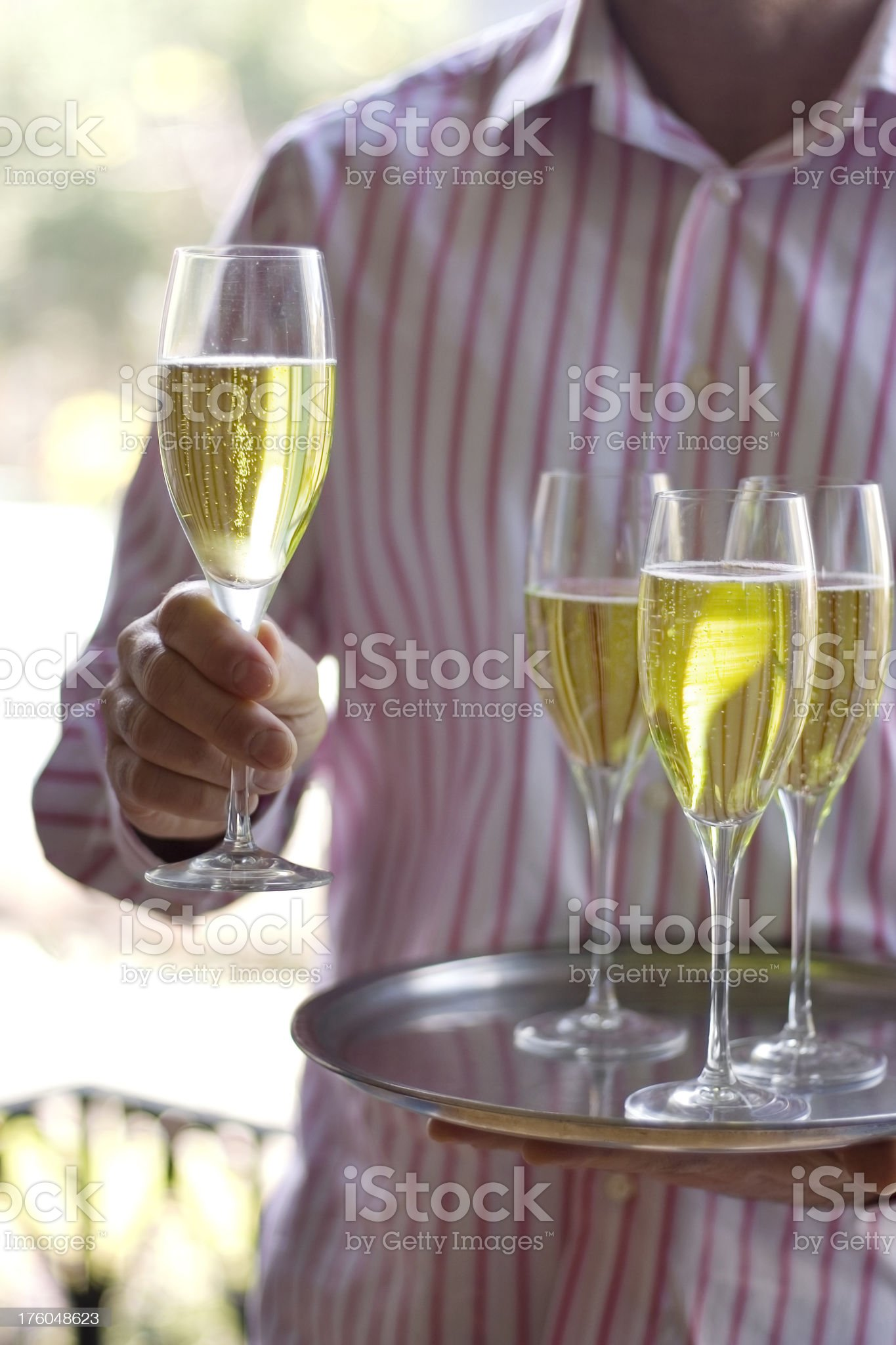 Serving champagne at garden party royalty-free stock photo