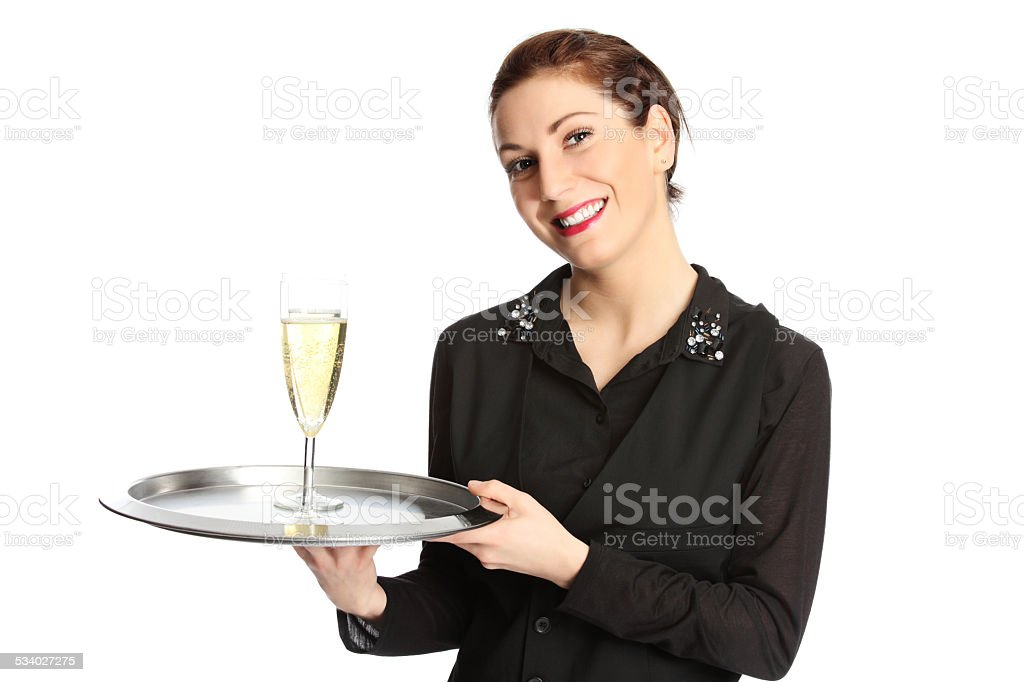 Serving champagne stock photo