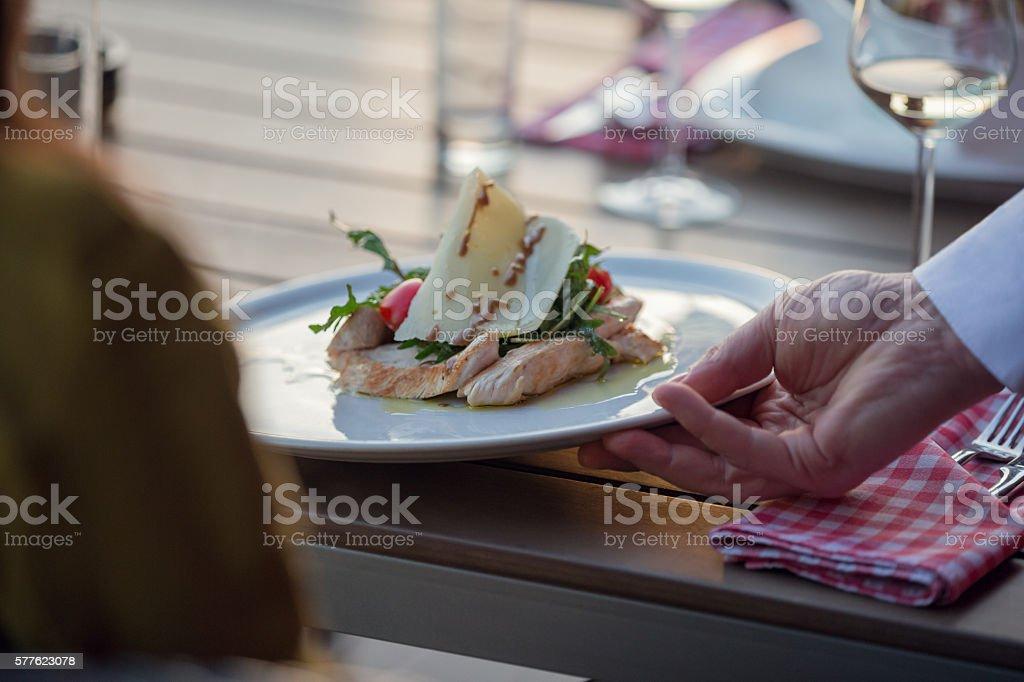 Serving chicken salad stock photo
