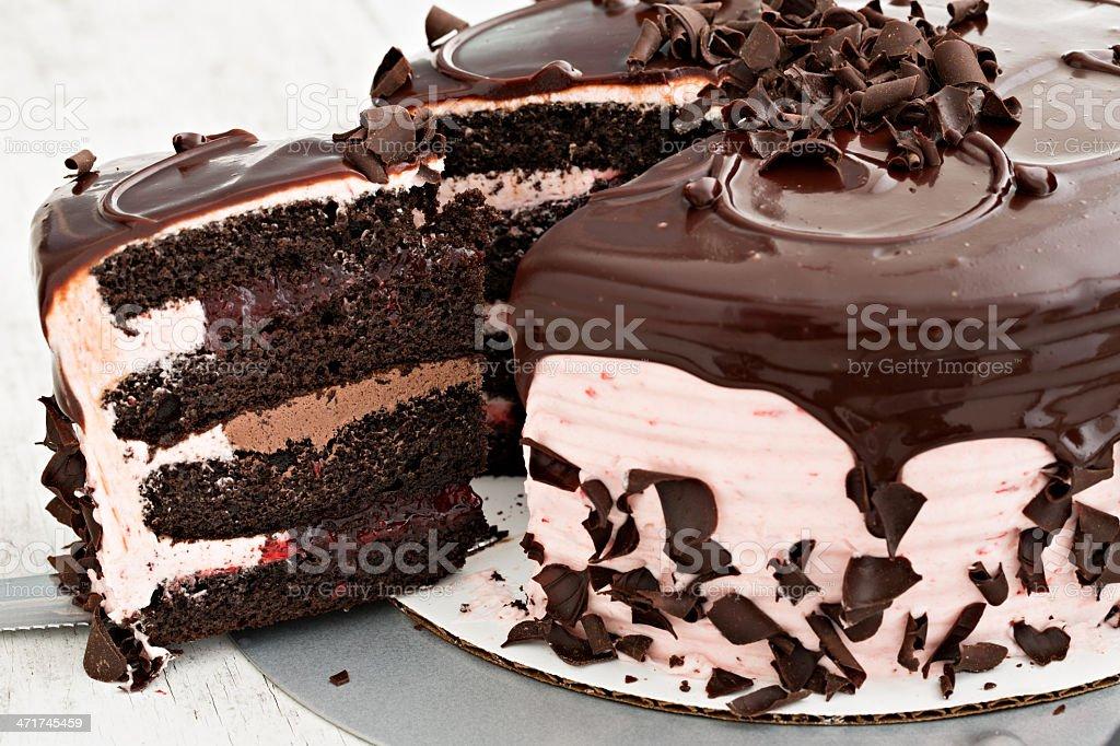 Serving Chocolate Strawberry Cake royalty-free stock photo