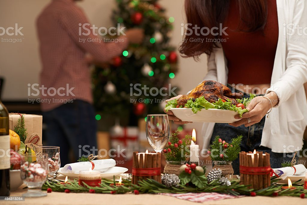 Serving Christmas table stock photo