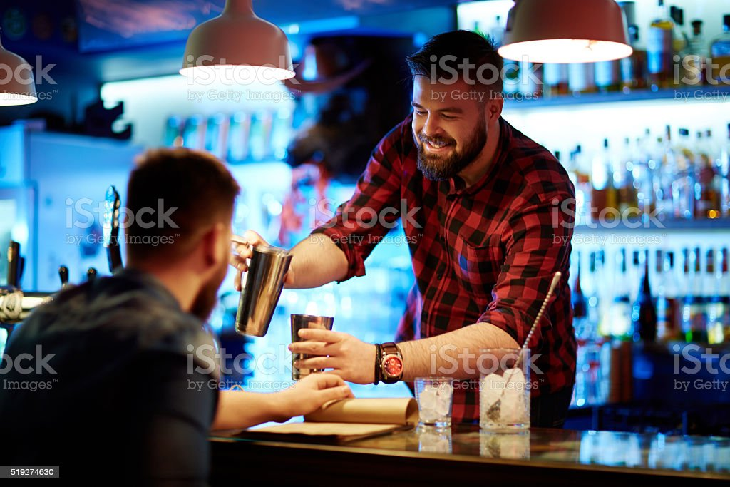 Serving client stock photo