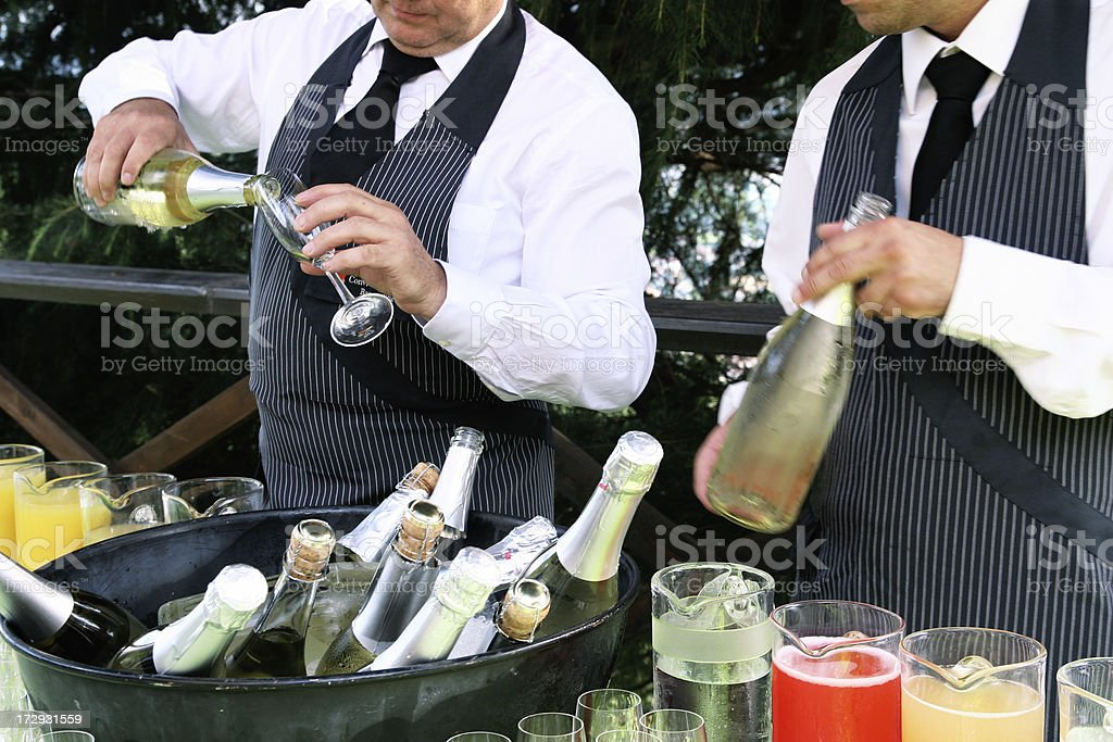 serving cocktail and wine stock photo