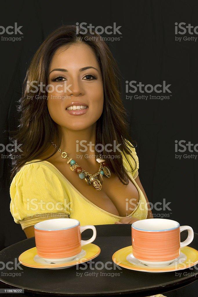 Serving coffee stock photo