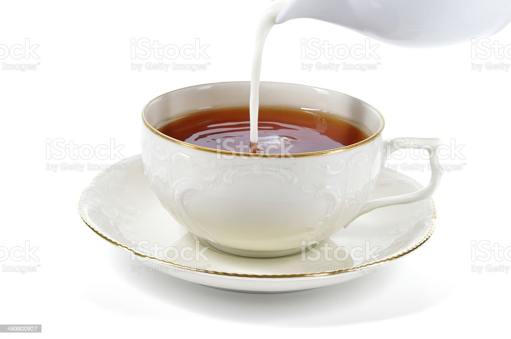 Serving cup of tea with milk. stock photo