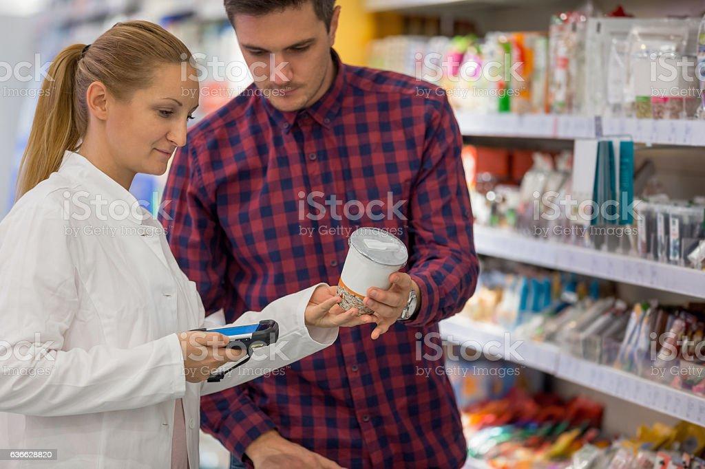 Serving customer stock photo