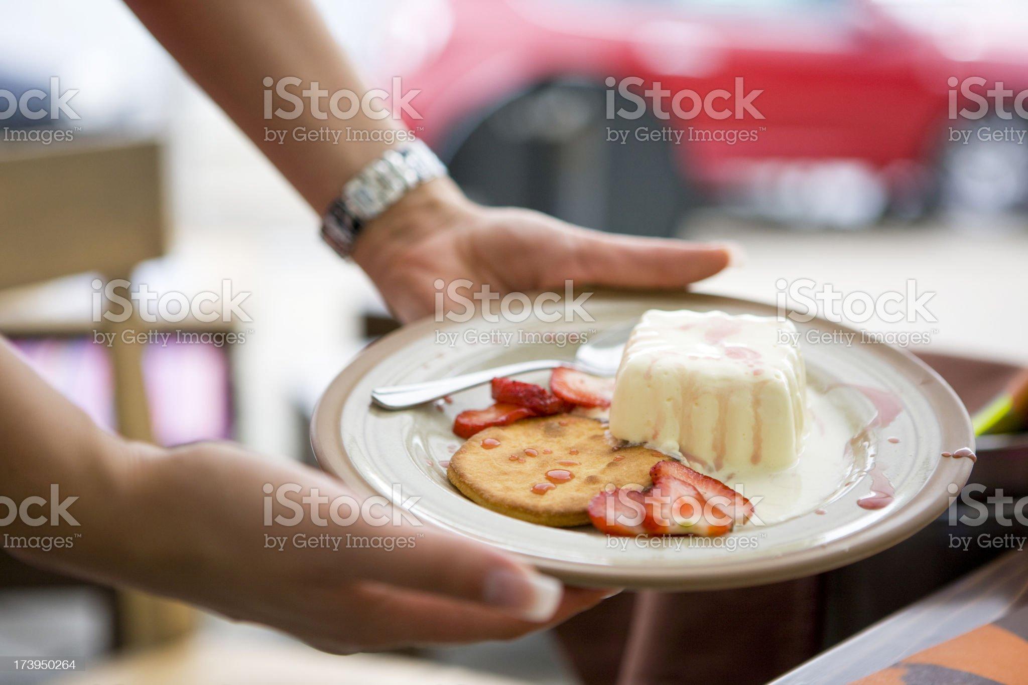 Serving dessert royalty-free stock photo