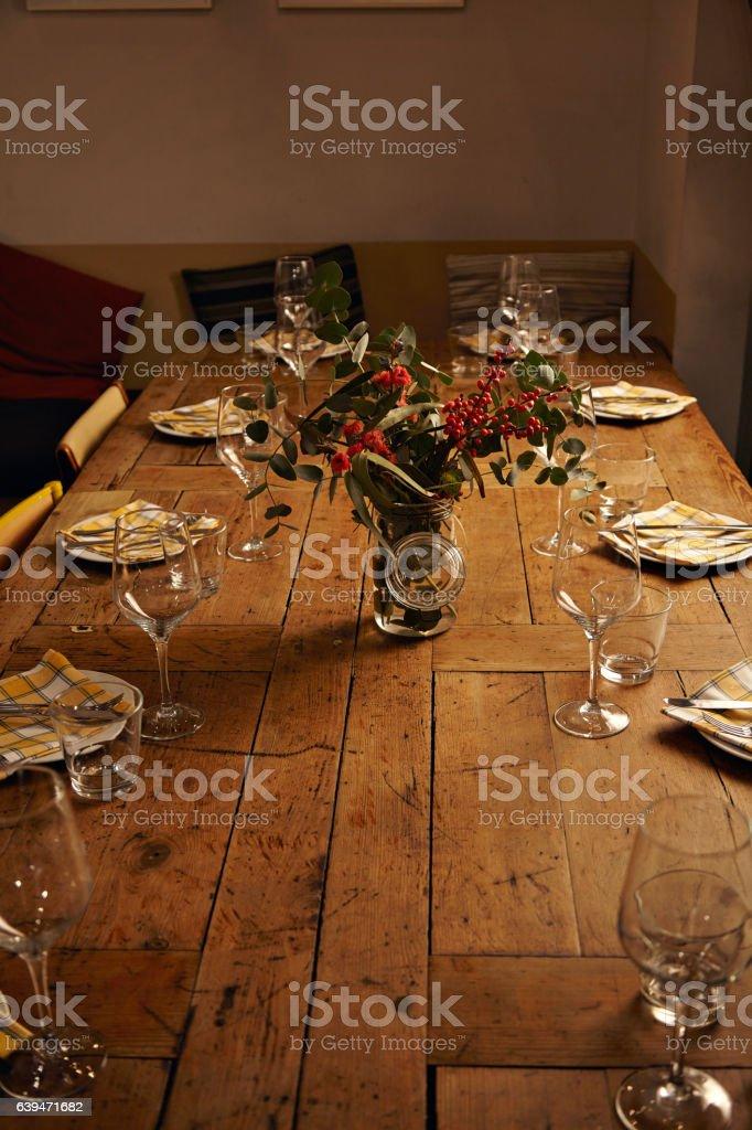Serving dinner table set stock photo