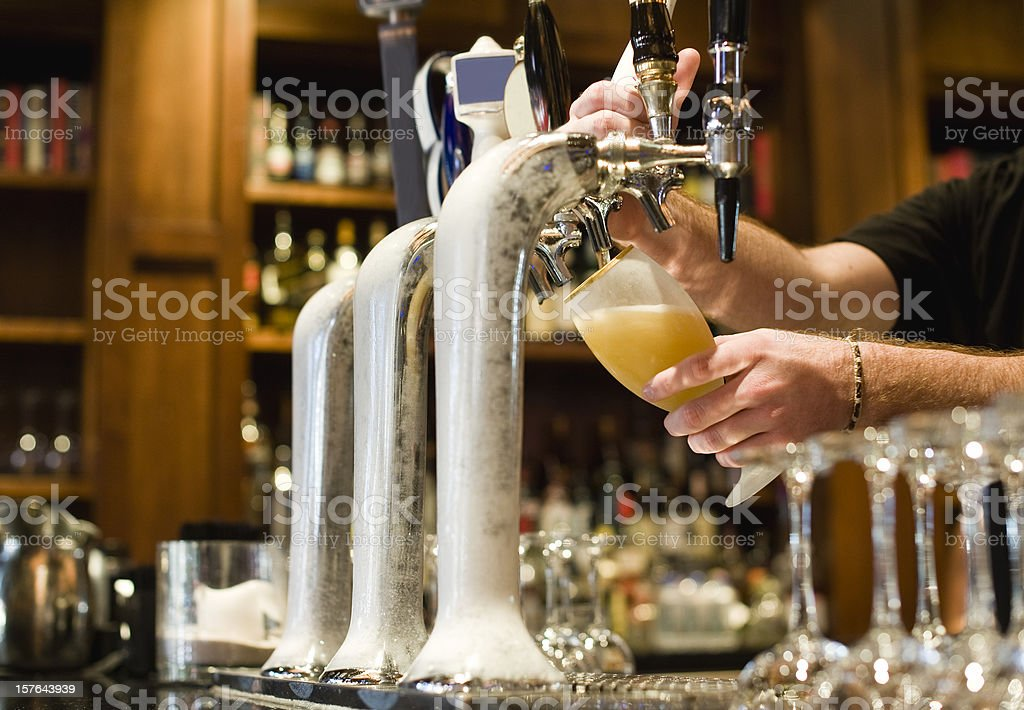 Serving Draught beer stock photo