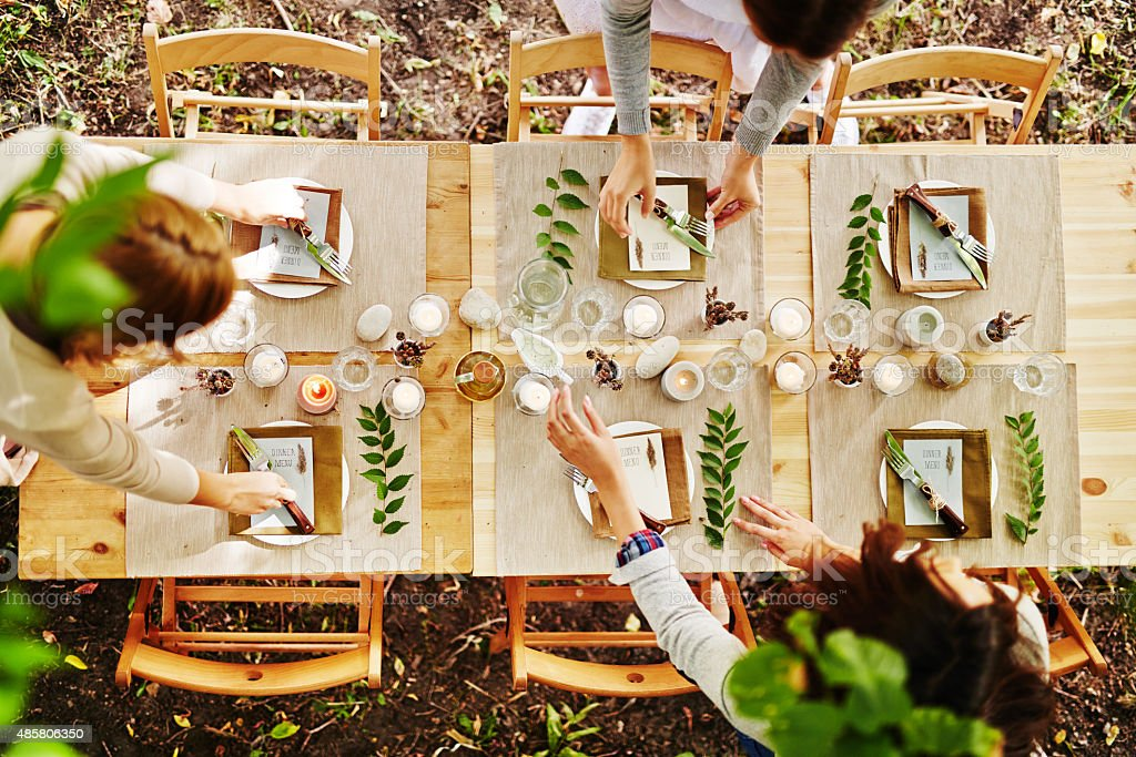 Serving festive table stock photo