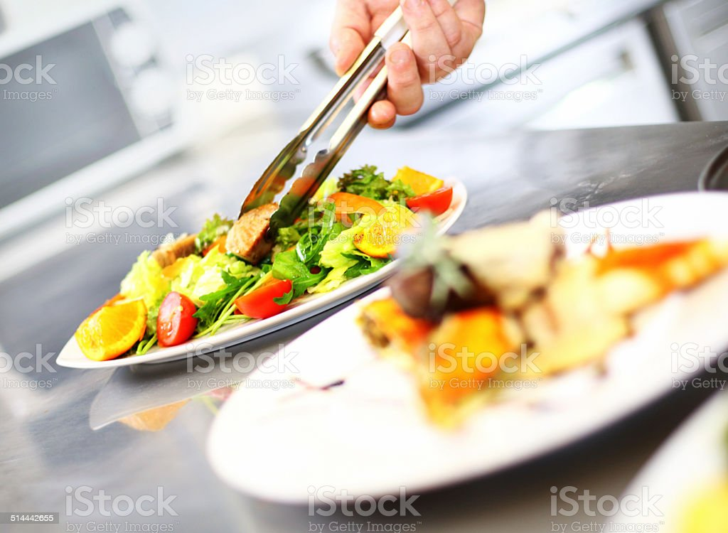 Serving food. stock photo