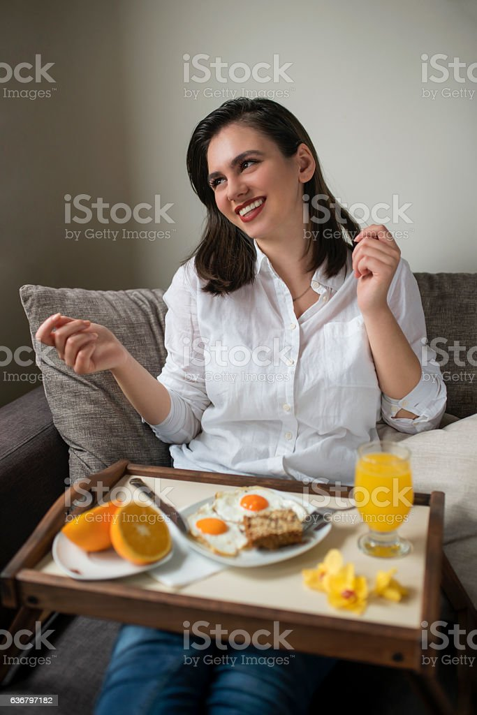 Serving for happiness stock photo