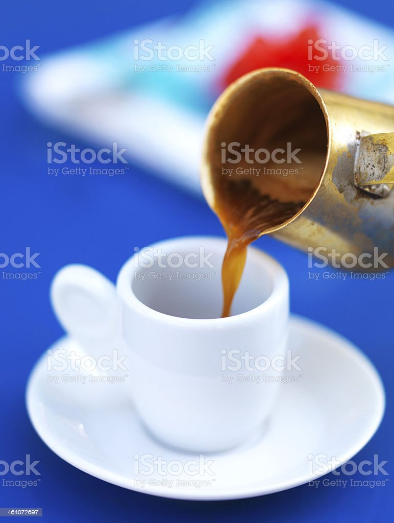 serving greek coffee stock photo
