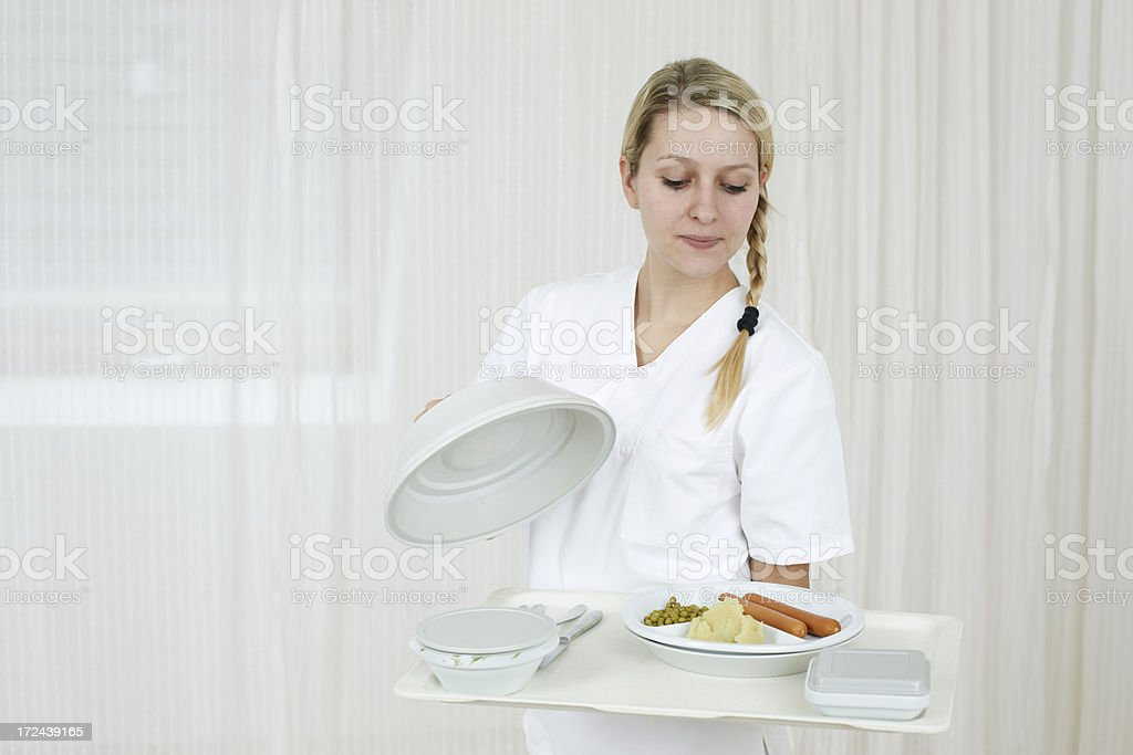 Serving hospital food royalty-free stock photo