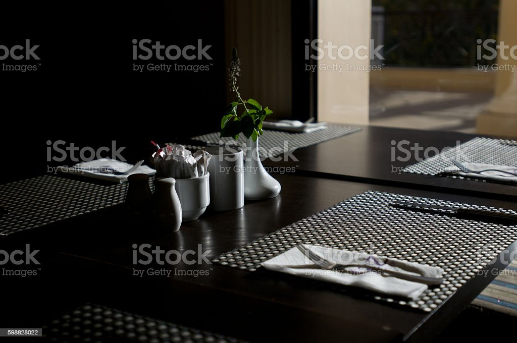 serving in the restaurant stock photo
