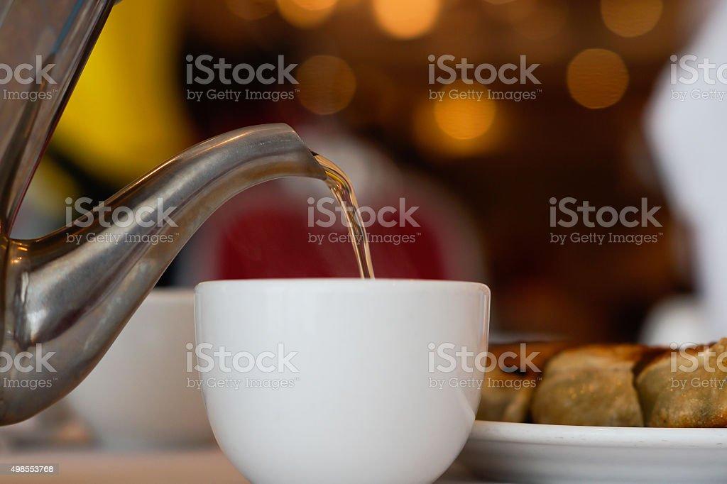 Serving Jasmine Tea stock photo