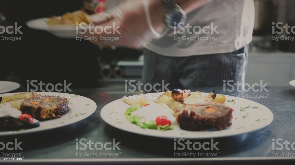 Serving lunch stock photo