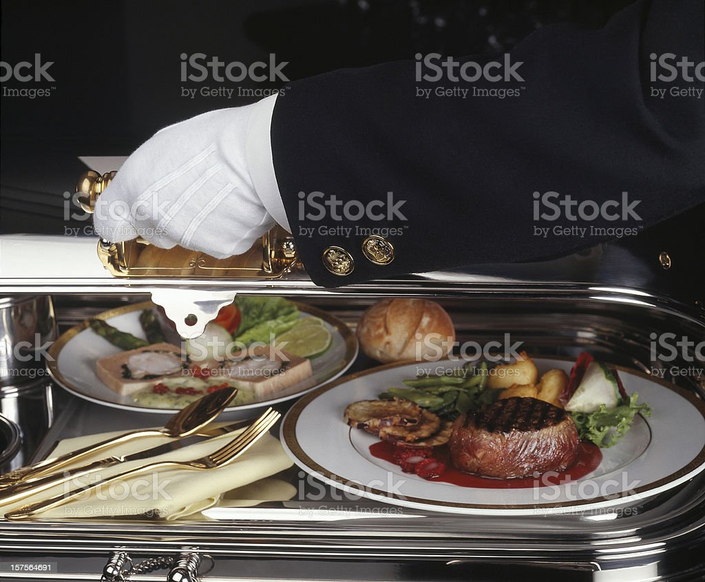 Serving luxury meal stock photo