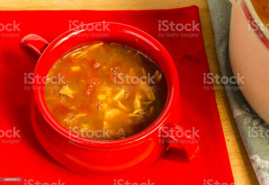 Serving of Chicken Taco Soup stock photo